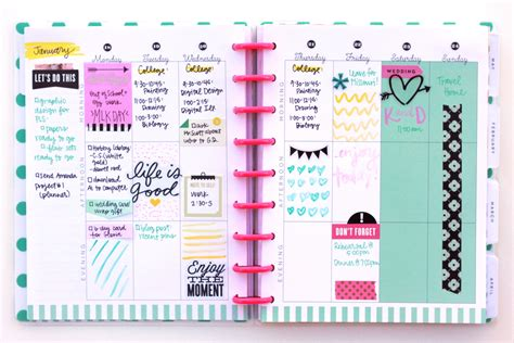 doodle planner the happy planner january week w watercolor doodles