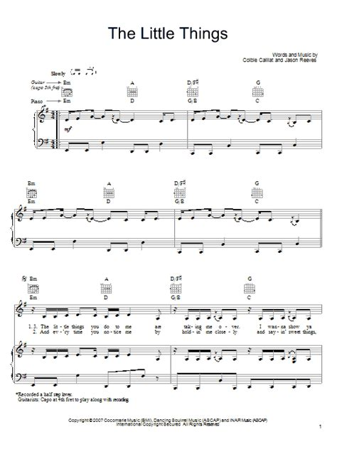 tutorial guitar little things the little things sheet music by colbie caillat piano