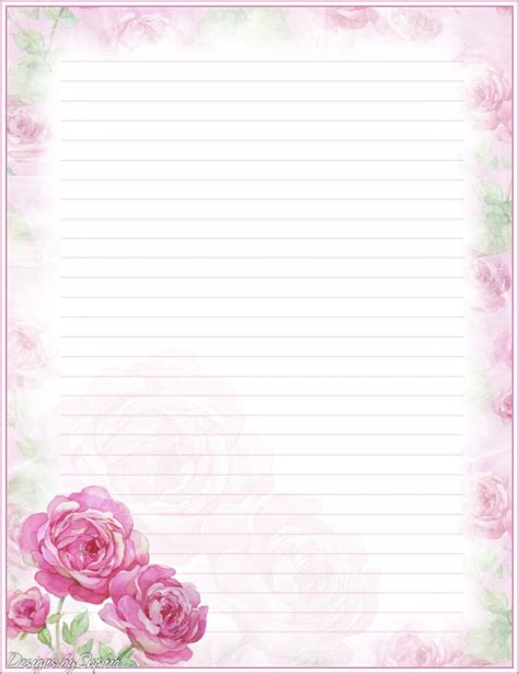printable stationary with roses my printable stationary creations 3 sophia designs