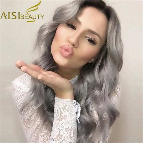 grey hair extensions for black women 26 long ombre grey wigs natural cheap hair wig grey