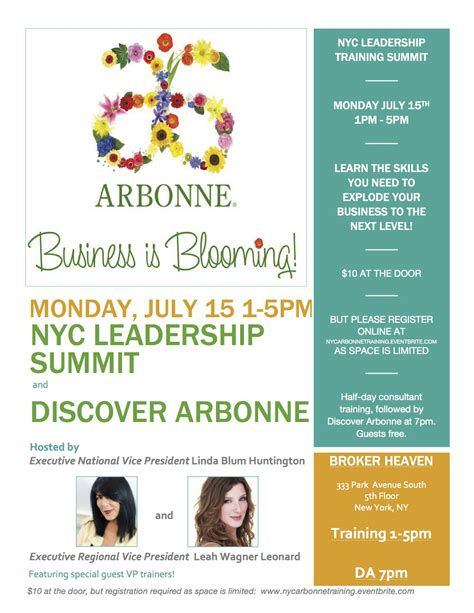 Nyc Arbonne Leadership Training Summit Tickets Mon Jul 15 2013 At 1 00 Pm Eventbrite Free Arbonne Flyer Templates