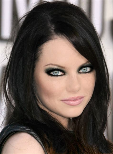 emma stone with black hair emma stone black hair color and vincent longo gold