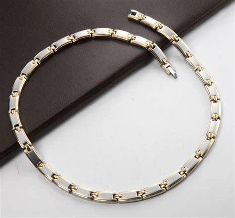 stainless steel for jewelry hotsel two tone plated stainless steel necklace