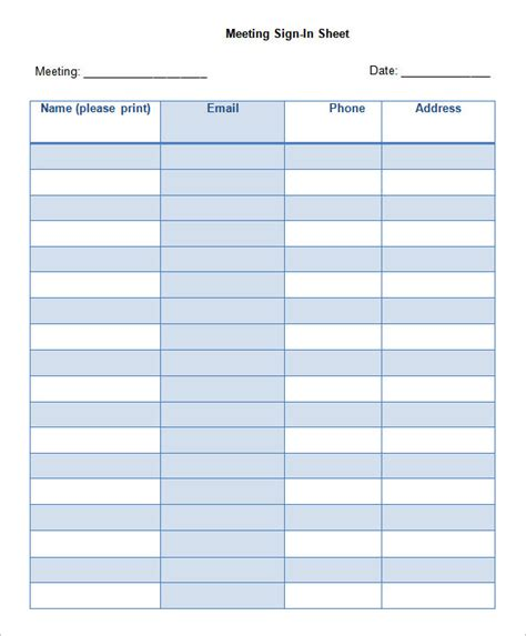 sample meeting sign in sheet 9 documents in pdf word