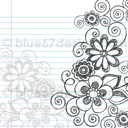 Sketchy Notebook Doodle Flower Page Border Vec