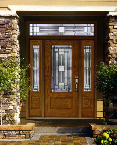 Exterior Windows And Doors Exterior Solid Wood Doors With Fiberglass Insert Narrow Side Windows And Transom Ideas