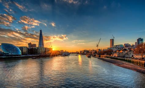 thames river london sunset river thames london city hall shard thames hd wallpaper