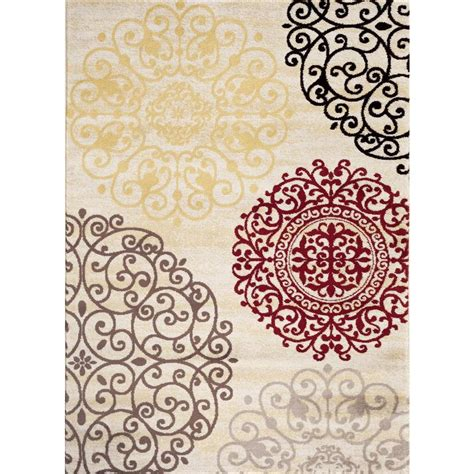 World Rug Gallery Contemporary Modern Floral Cream 7 Ft Contemporary Floral Area Rugs