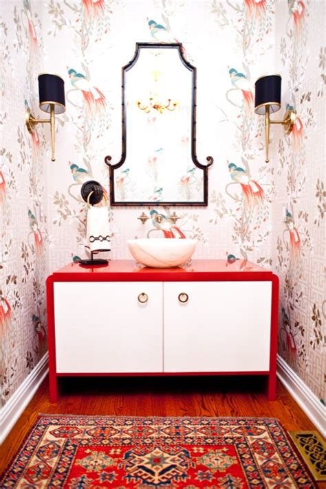 powder room rug red lacquer vanity asian bathroom natalie clayman