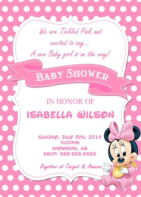 minnie mouse baby shower invitation template 10 best minnie mouse baby shower invitations walmart