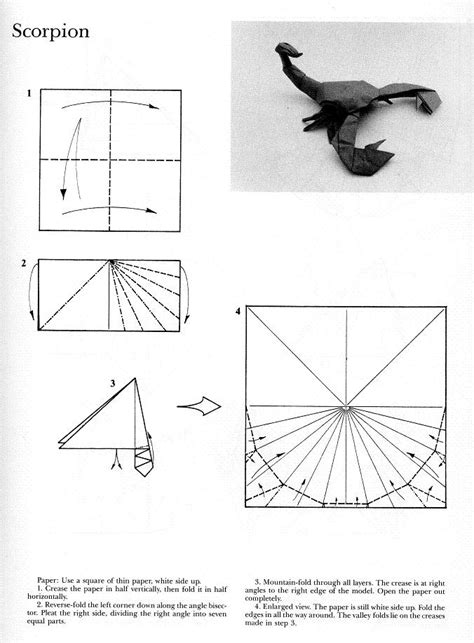 origami scorpion robert j lang diagram origami lizard