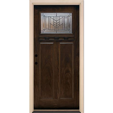 Pre Hung Front Door Feather River Doors 37 5 In X 81 625 In Patina Craftsman Stained Chestnut Mahogany