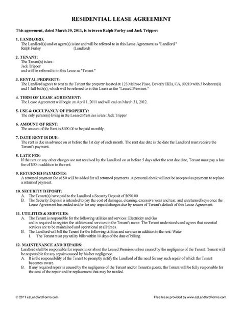 free printable landlord lease agreement free lease rental agreement forms ez landlord forms