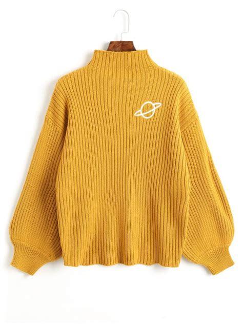 Embroidered Mock Neck Sweater mock neck planet embroidered sweater mustard sweaters one