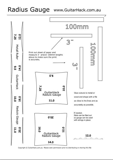 guitar neck radius template printable radius images
