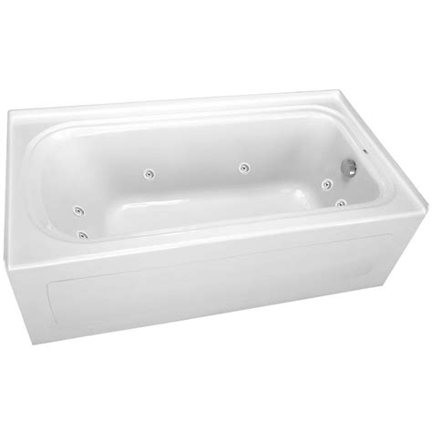 proflo bathtub proflo pfw6032arskwh white 60 quot x 32 quot alcove 8 jet whirlpool bath tub with skirt right hand