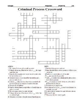 printable criminal justice worksheets criminal process crossword worksheet arrest indictment