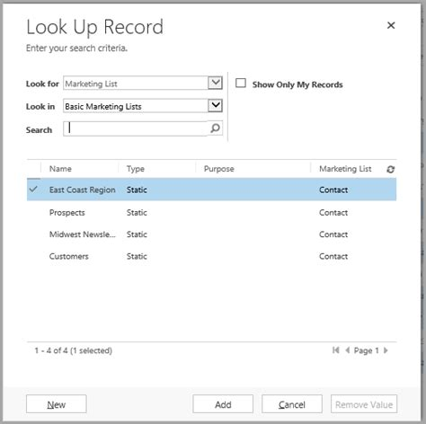 Look Up Records Working With Microsoft Dynamics Crm Marketing Lists The