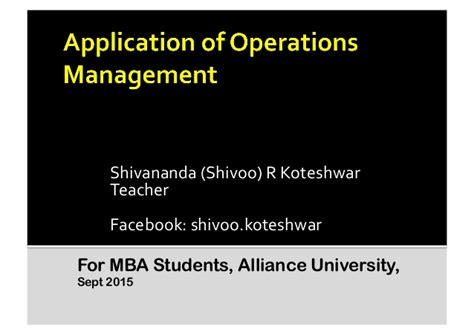 Mba Operations Management Booth Admissions by Application Of Operations Management