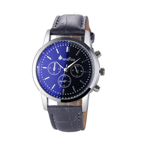 luxury new mens watches leather band analog sport blue