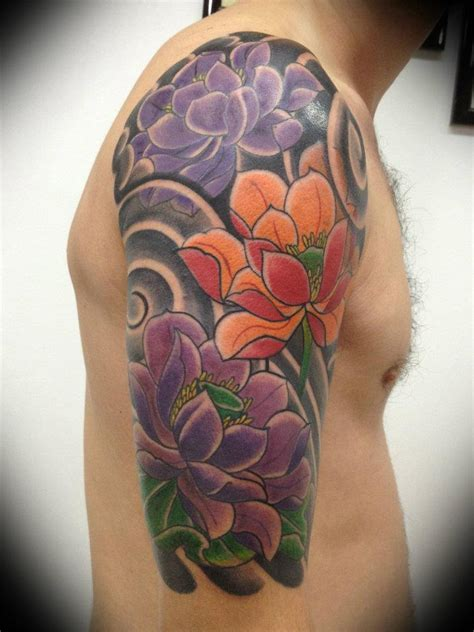 japanese flower tattoos colored japanese flowers on right half sleeve