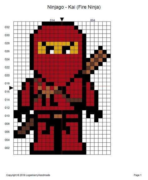 ninjago cross stitch pattern  kai fire ninja red