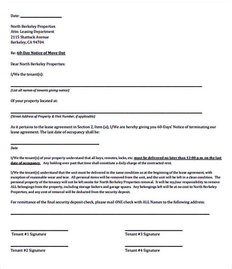 60 day lease termination notice template 12 termination letter template