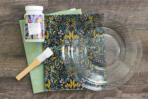 how to decoupage with fabric decoupage fabric glass plates