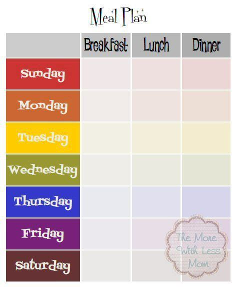 breakfast lunch and dinner menu template weekly meal plan template with breakfast lunch dinner