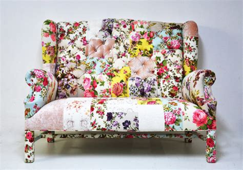 floral settee floral wingback patchwork sofa by name design studio