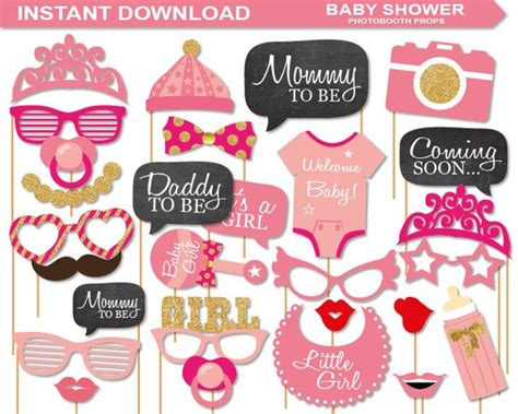 Instant Download Baby Shower Photobooth Props Printable Pack A Complete Photobooth Printable Baby Shower Photo Booth Templates