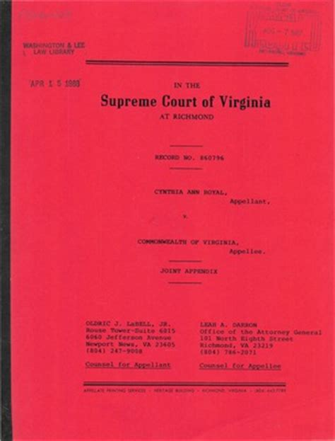 Virginia Court Records Virginia Supreme Court Records Volume 234 Virginia Supreme Court Records