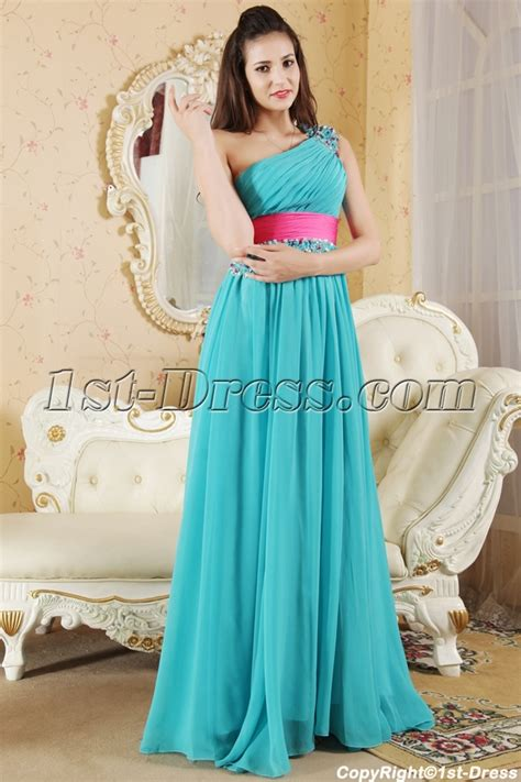 Teal and Hot Pink Pretty Prom Dress with Train IMG 5382:1st dress.com