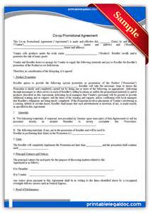 free printable co op promotional agreement form generic