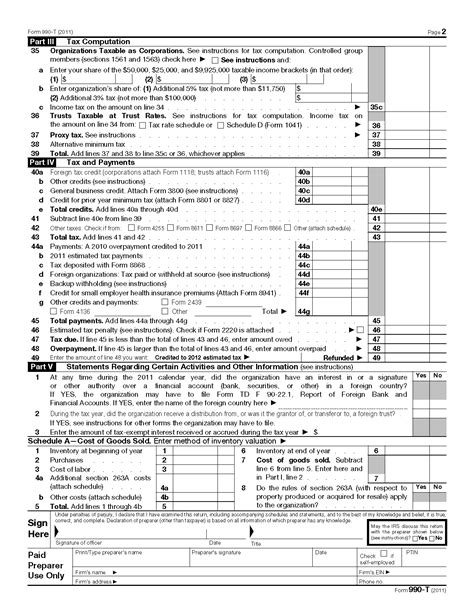 income tax all section pdf form 990 t exempt organization business income tax return