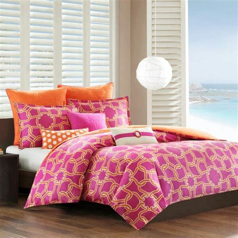 comforter pink and orange college things pinterest