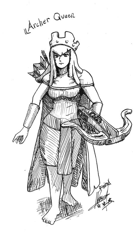 clash of clans archer queen coloring page preview archer queen by digiral on deviantart