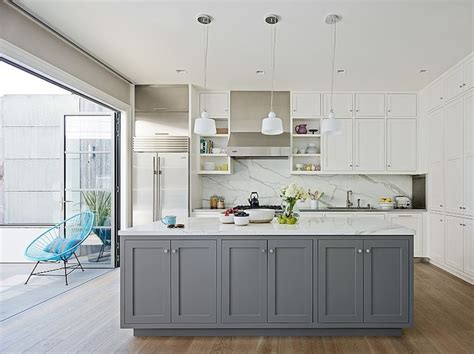 center island kitchen grey center island contemporary kitchen feldman
