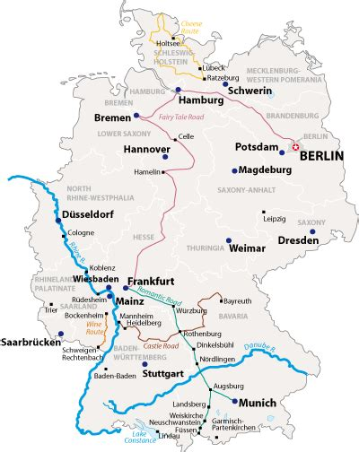 map of german routes germany