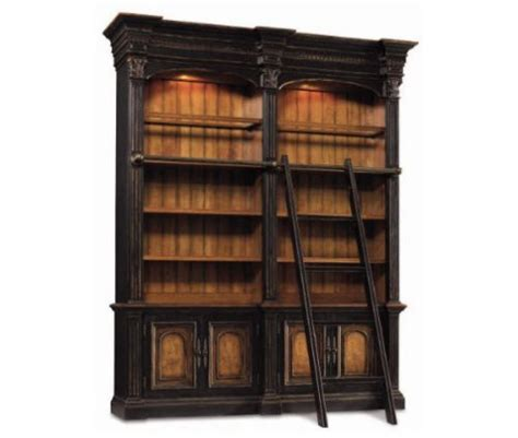 Double Bookcase With Ladder And Rail Bookcase Ladder And Rail