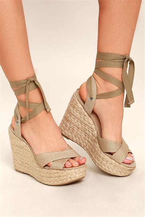 Jellyshoes Br 53 stylish beige wedges espadrille wedges lace up wedges