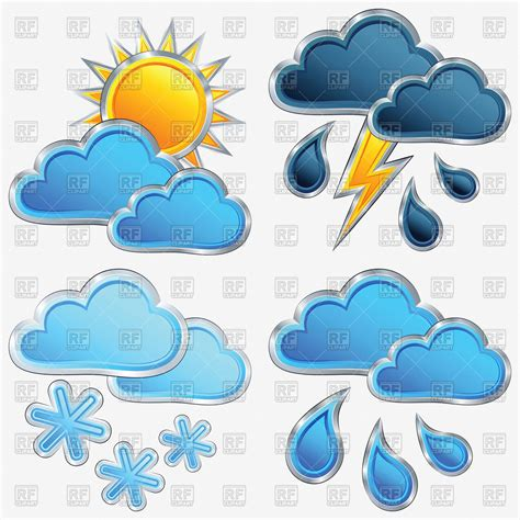 eps clipart weather icons rainy and clouds lightning and
