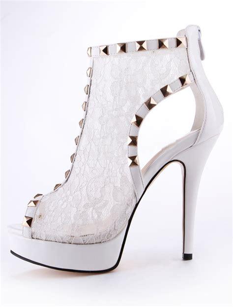 booties high heels white peep toe spike heel lace s high heel booties