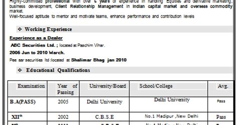 Resume Format Doc For Fresher 10th Pass 10000 Cv And Resume Sles With Free Experienced Resume For Ba