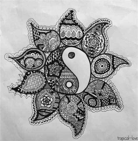 F Drawing Design by Henna Ying And Yang Serenity And An Open Blissful