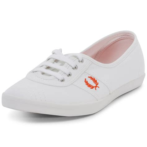 fred perry shoes fred perry womens trainers fabric white orange new