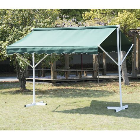 Shade Canopy by Outsunny Sided Patio Manual Awning Sun Canopy Shade