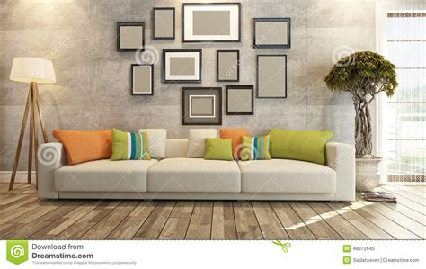 Interior Design With Frames On Concrete Wall 3d Rendering