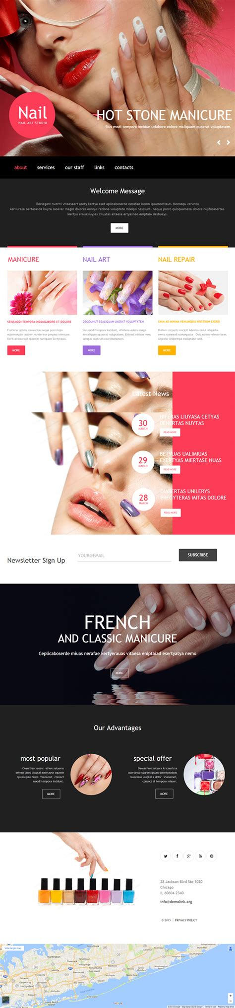 wordpress themes free nails nail salon premium muse template responsive miracle