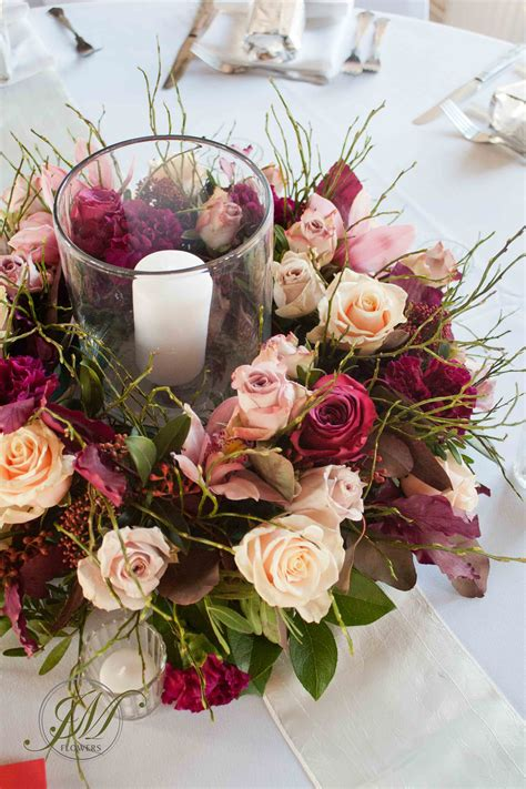 Floral Wedding Centerpieces For Tables Burgundy And Wedding Table Arrangements A Floral